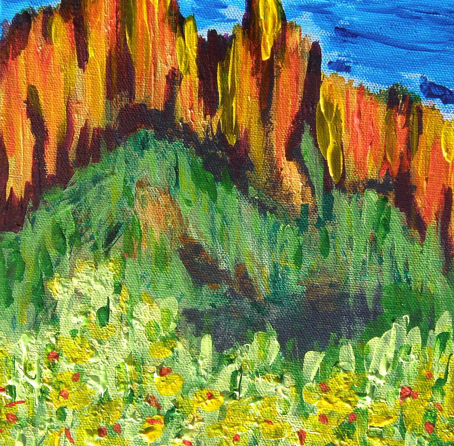 Rock Of Many Colors Painting