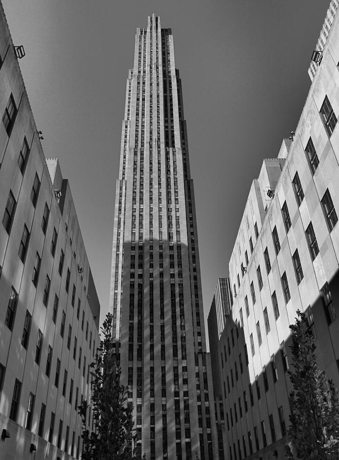 Ge Building In Black And White Photograph