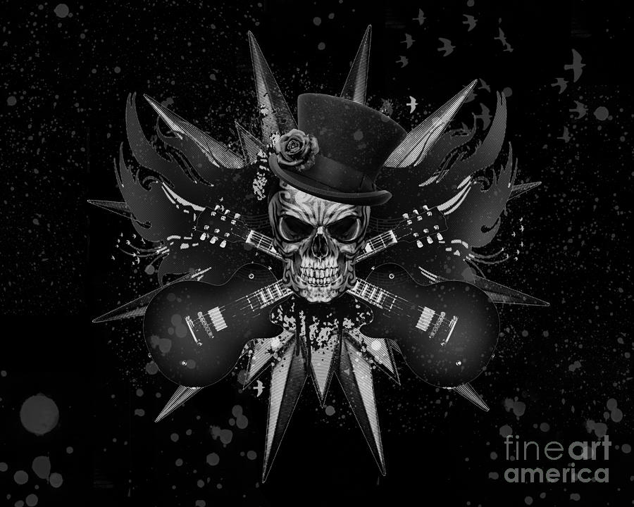 Rockin Skull Design Digital Art  - Rockin Skull Design Fine Art Print