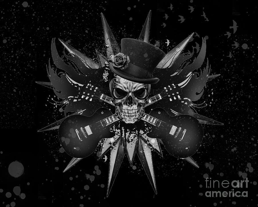 Rockin Skull Design Digital Art