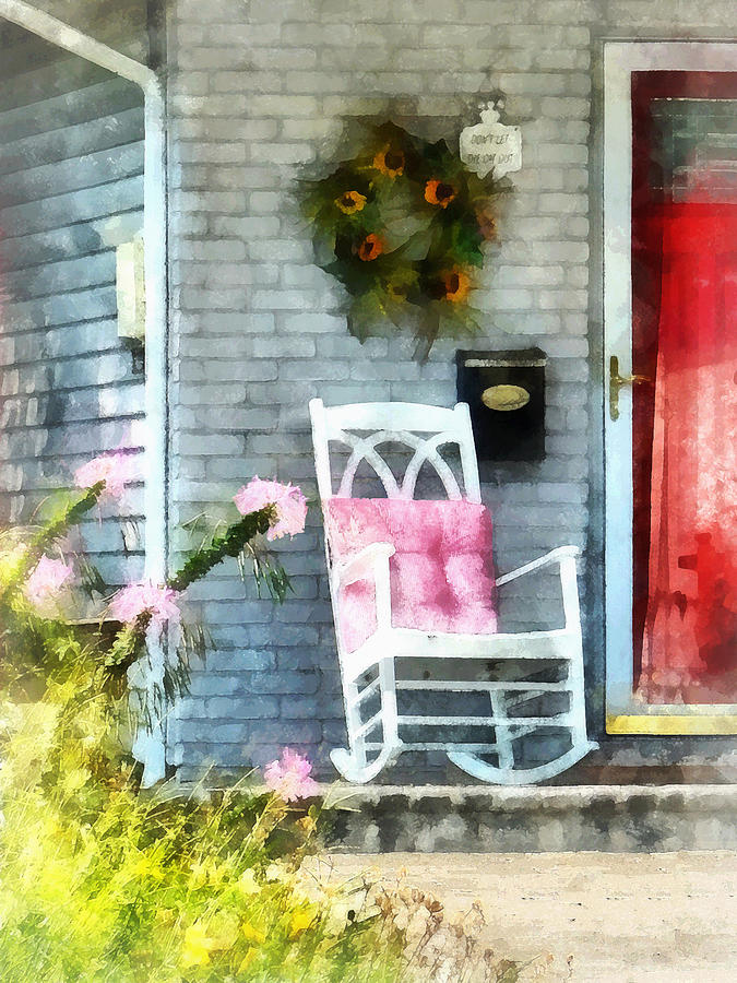 Rocking Chair With Pink Pillow Photograph  - Rocking Chair With Pink Pillow Fine Art Print