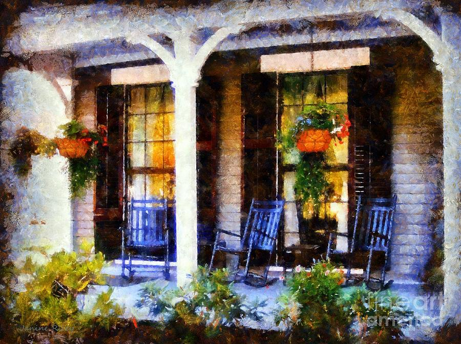 Rocking Chairs On A Country Porch Photograph
