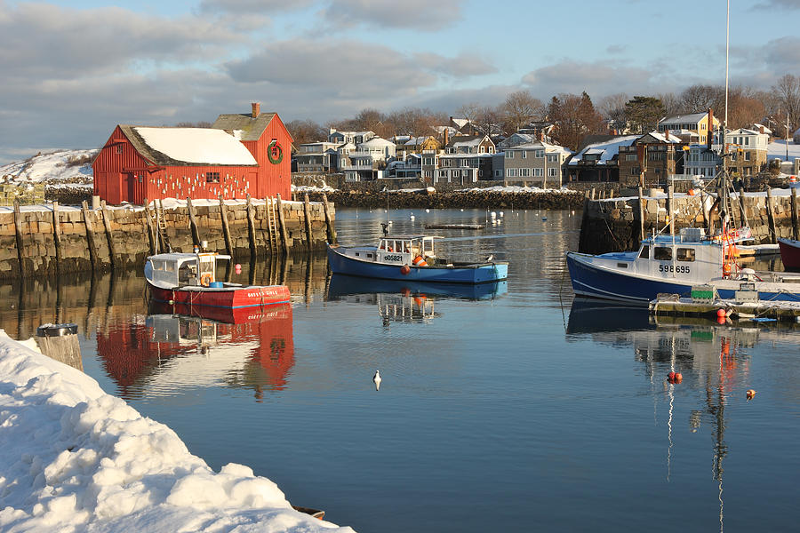 Massachusetts  Harbors  Boats Winter Snow Nautical Photograph - Rockport Harbor In Winter by Gail Maloney