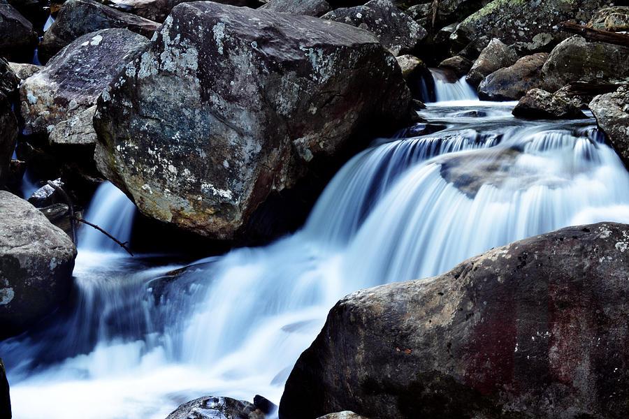 Waterfall Photograph - Rocks And Waterfall by Adam LeCroy