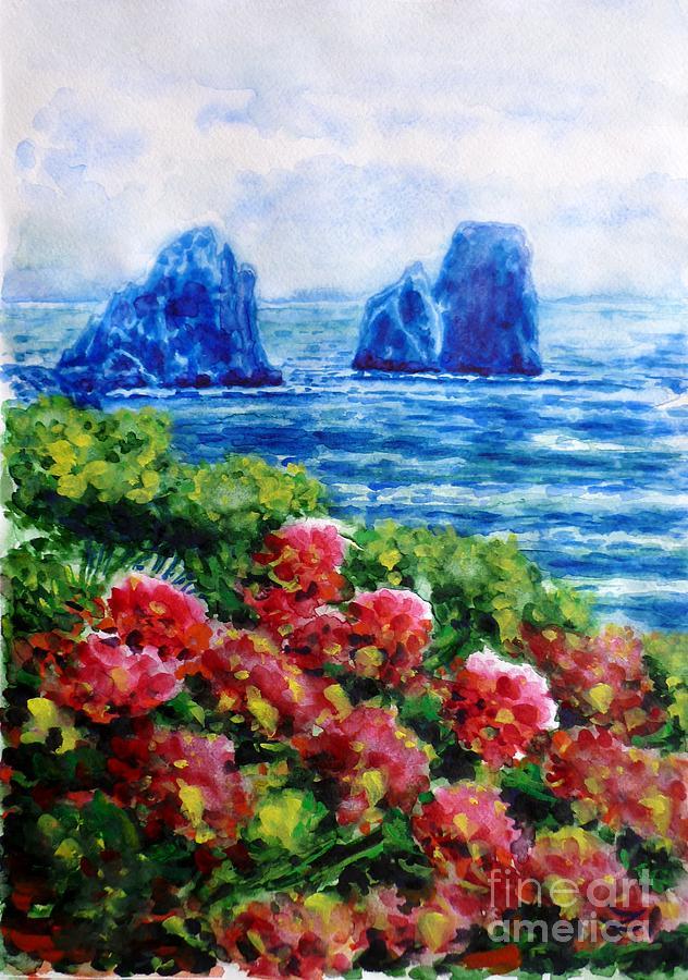Rocks Of Capri Painting