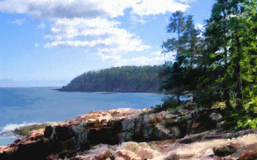 Rocky Coast .  Impressionistic  Digital Art