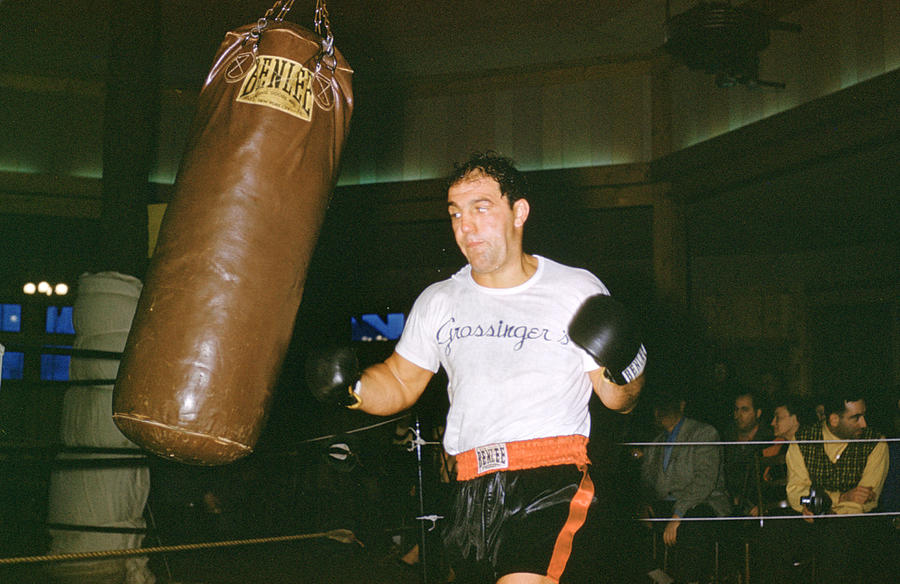 Rocky Marciano Working Heavy Bag Photograph
