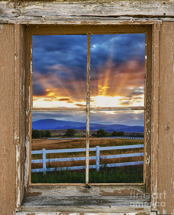Rocky mountain country beams of sunlight rustic window for Sunlight windows