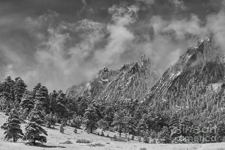 Flatirons Photograph - Rocky Mountain Dusting Of Snow Boulder Colorado Bw by James BO  Insogna
