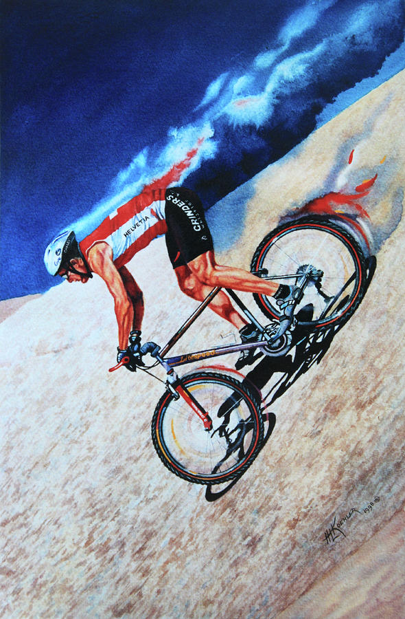 Cycling Painting - Rocky Mountain High by Hanne Lore Koehler