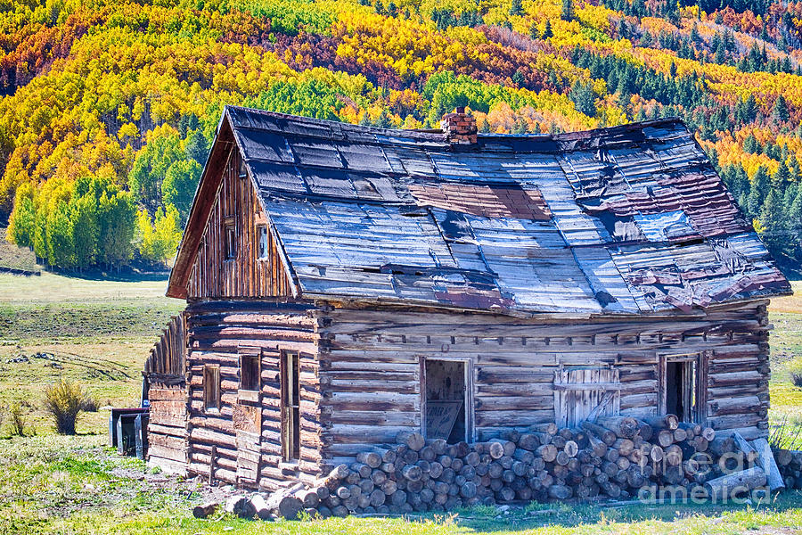 Rocky Mountain Rural Rustic Cabin Autumn View Photograph