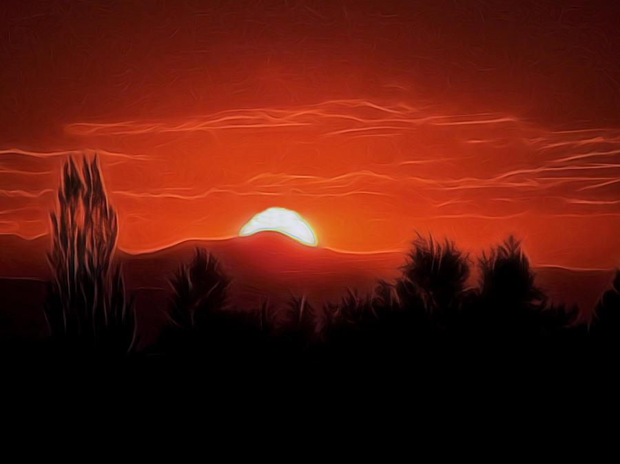 Rocky Mountain Sunset Digital Art Digital Art By Ernie Echols