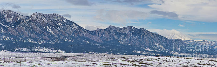 Rocky Mountains Flatirons And Longs Peak Panorama Boulder Photograph  - Rocky Mountains Flatirons And Longs Peak Panorama Boulder Fine Art Print