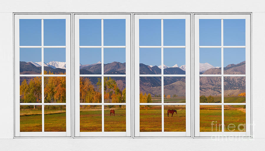 Windows Photograph - Rocky Mountains Horses White Window Frame View by James BO  Insogna