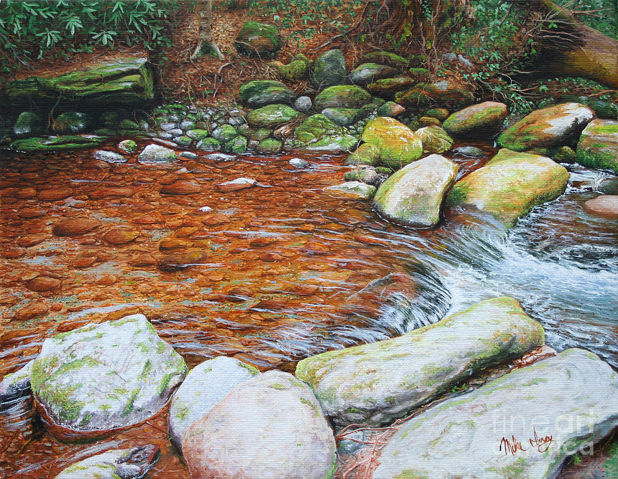 Oil Painting - Rocky Stream by Mike Ivey
