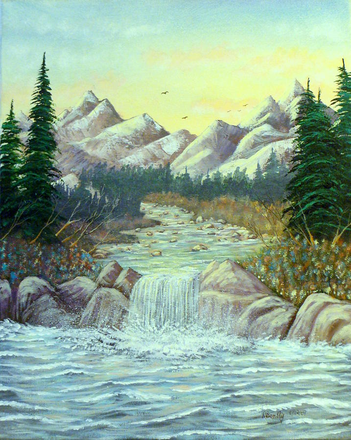 Rocky Waters Painting  - Rocky Waters Fine Art Print