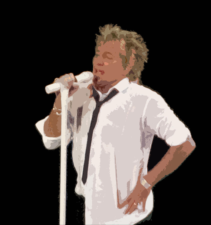 Rod Stewart In Concert Digital Art  - Rod Stewart In Concert Fine Art Print