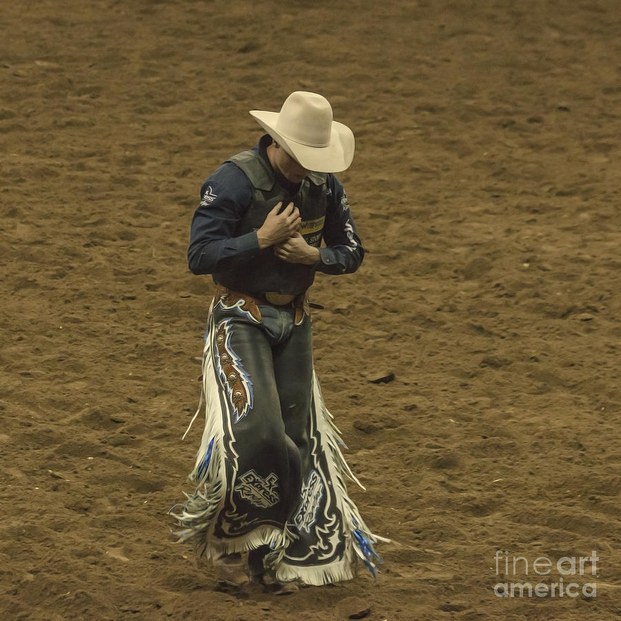 Rodeo Cowboy Dusting Off Photograph