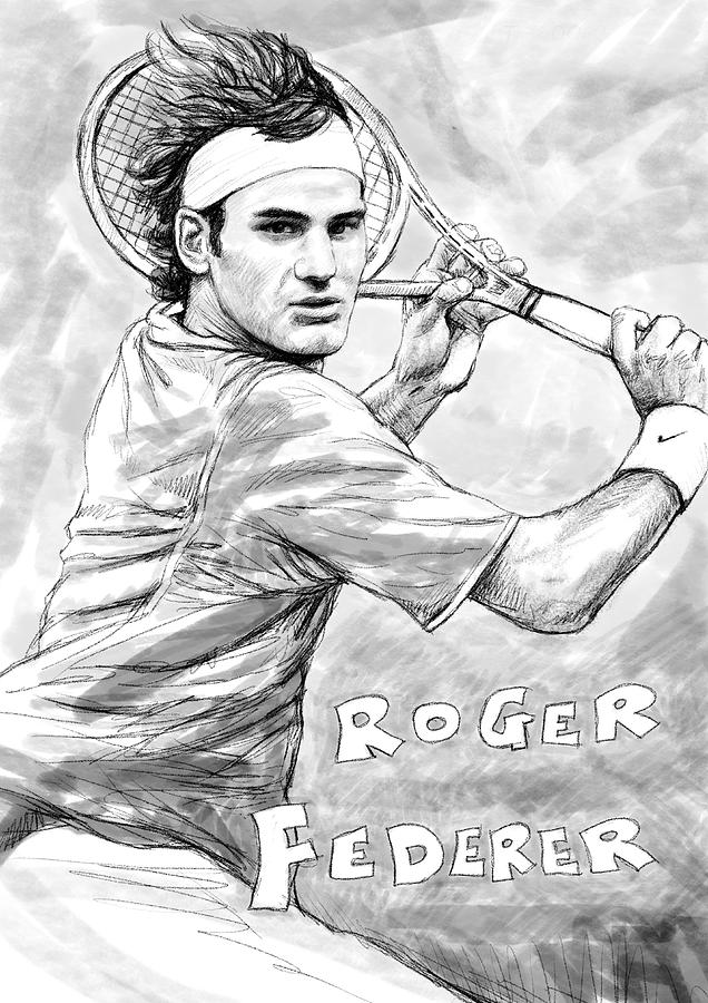 Roger Federer Art Drawing Sketch Portrait Painting  - Roger Federer Art Drawing Sketch Portrait Fine Art Print