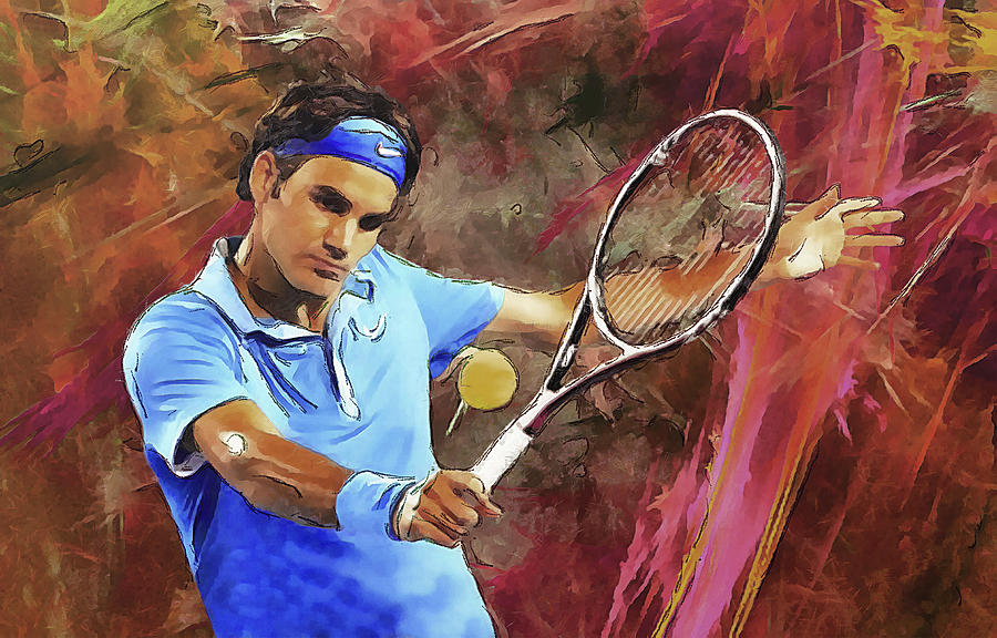 Roger Federer Backhand Digital Art