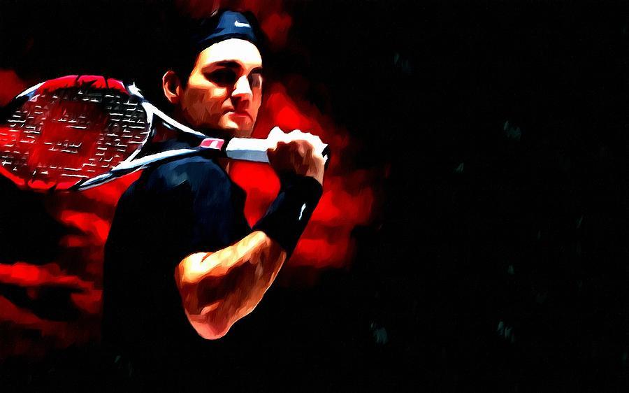 Roger Federer Tennis Painting