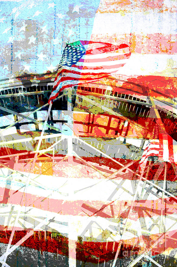 Roller Coaster Americana Mixed Media