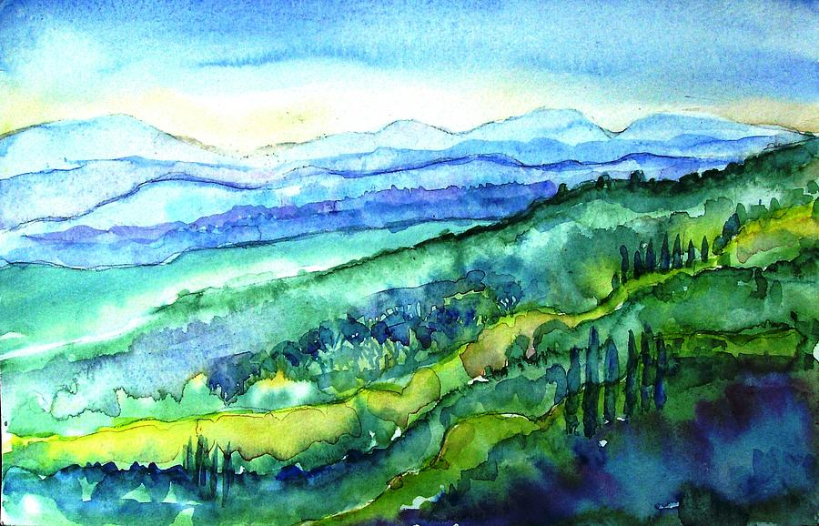 Rolling Tuscan Landscape Painting