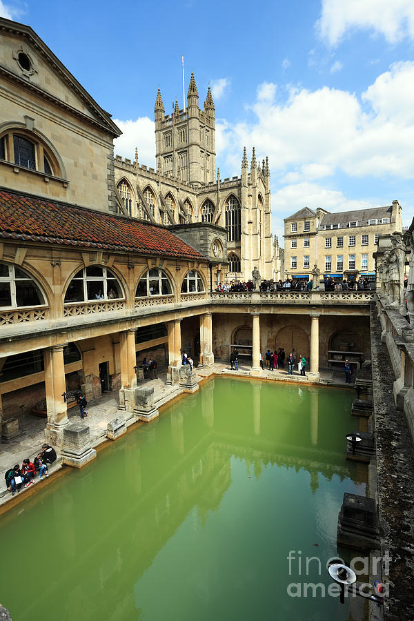 Bath Photograph - Roman Bath And Bath Abbey by Paul Cowan