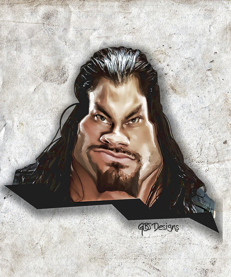 Caricature Digital Art - Roman Reigns Caricature By Gbs by Anibal Diaz