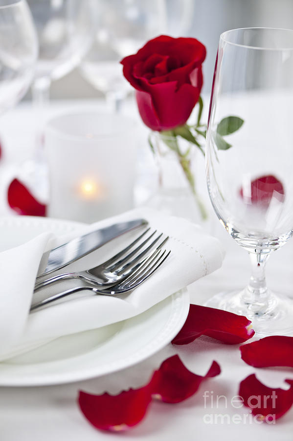 Romantic Dinner Setting With Rose Petals Photograph