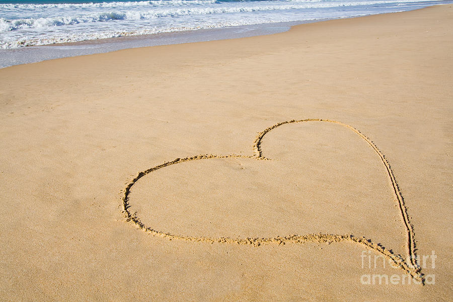Romantic Heart Drawn In The Smooth Beach Sand by Jose ...