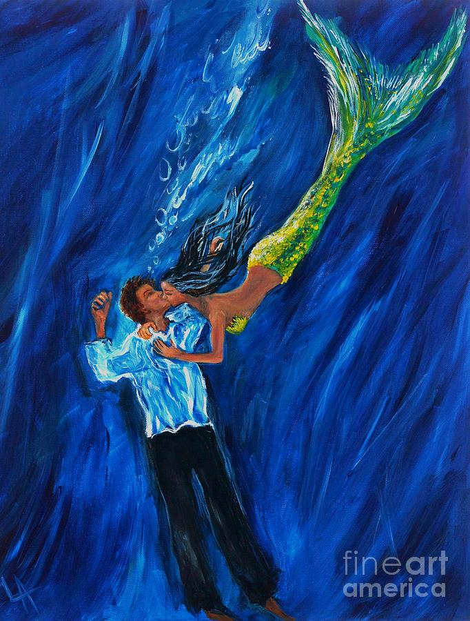 Mermaid Painting - Romantic Rescue by Leslie Allen