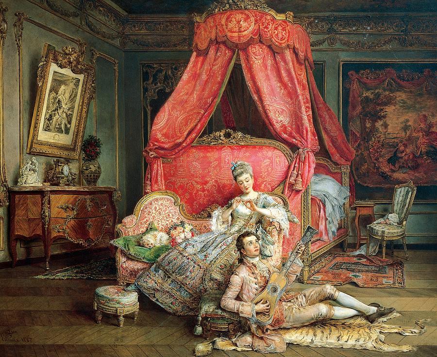 Art; Painting; 19th Century Painting; Europe; Spain; De Leon Y Escosura Ignacio; Bedroom; Bed Painting - Romantic Scene by Ignacio De Leon y Escosura