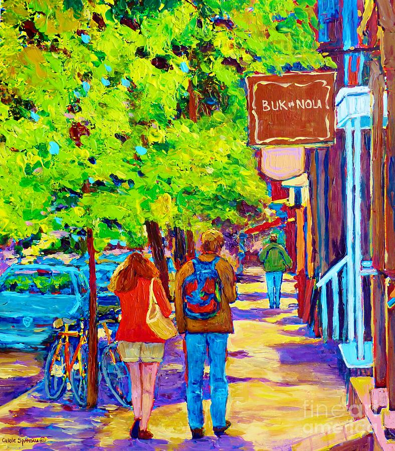 Romantic Stroll Along Rue Laurier Montreal Street Scenes Paintings Carole Spandau Painting