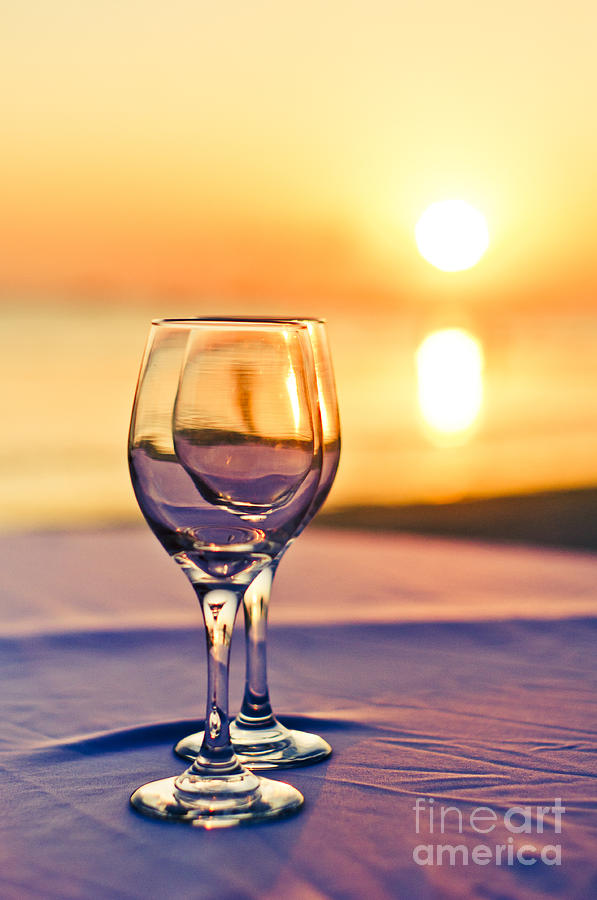 Romantic Sunset Drink With Wine Glass Photograph