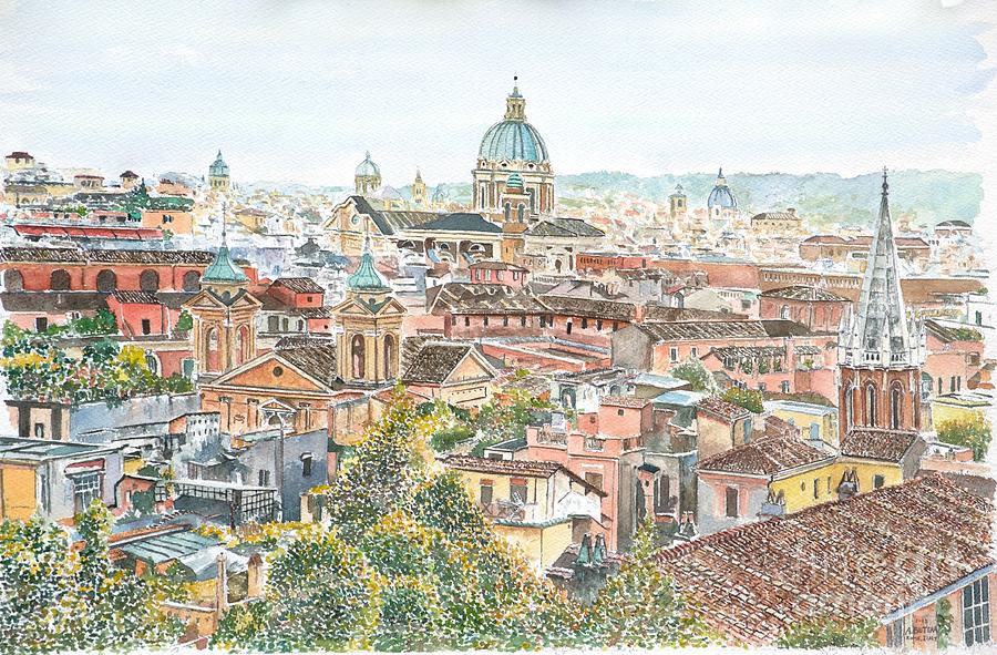Rome Overview From The Borghese Gardens Painting