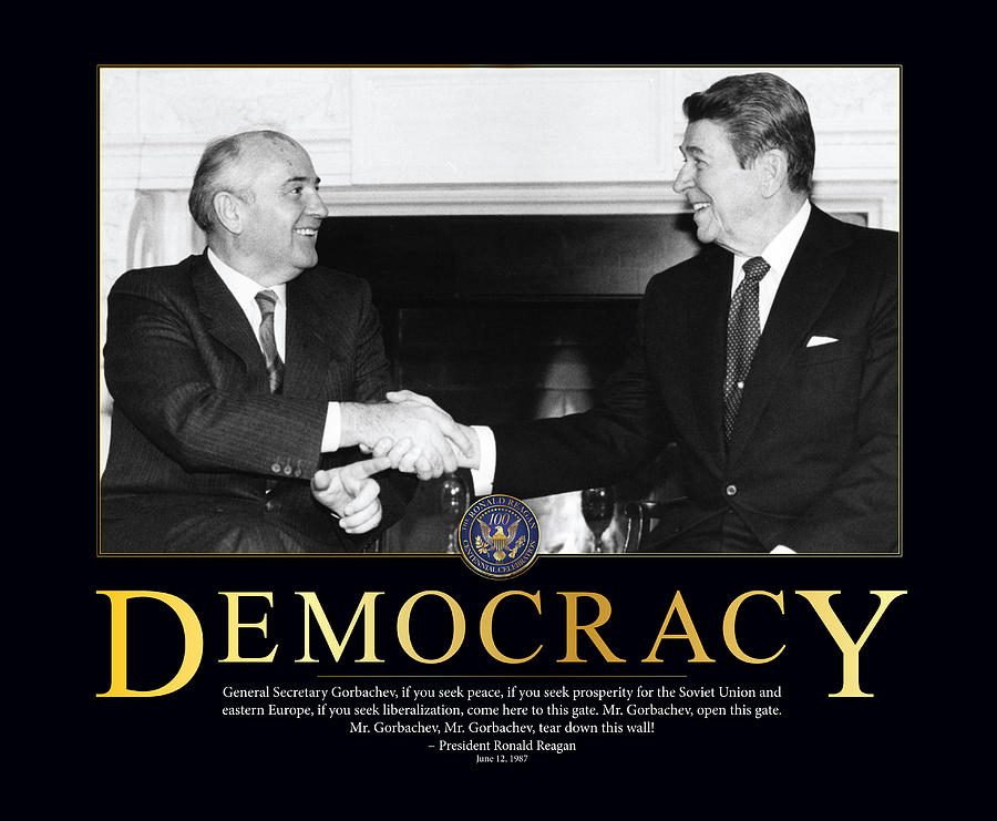 President Photograph - Ronald Reagan Democracy  by Retro Images Archive