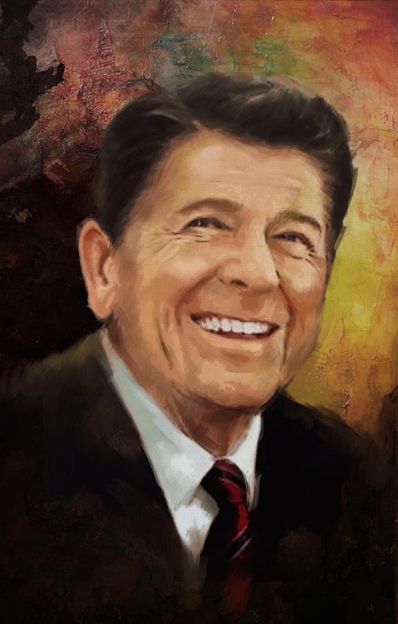 Rancho Del Cielo Painting - Ronald Reagan Portrait 8 by Corporate Art Task Force
