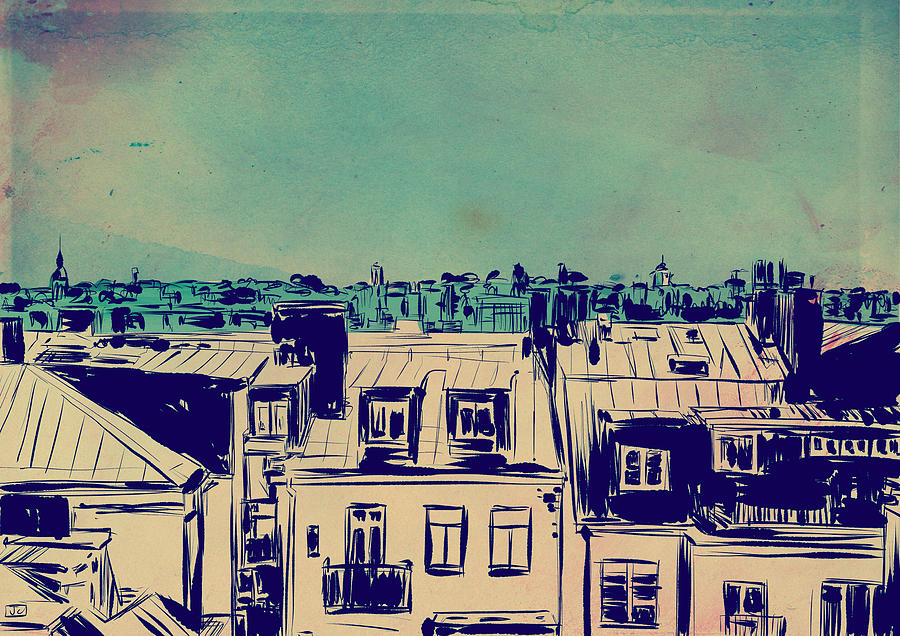 Roofs Drawing  - Roofs Fine Art Print