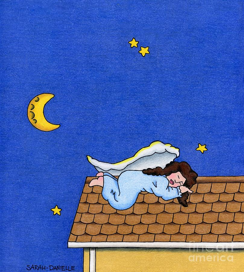 Rooftop Sleeper Drawing by Sarah Batalka