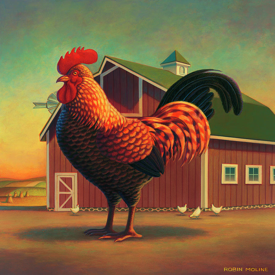 Rooster And The Barn Painting  - Rooster And The Barn Fine Art Print