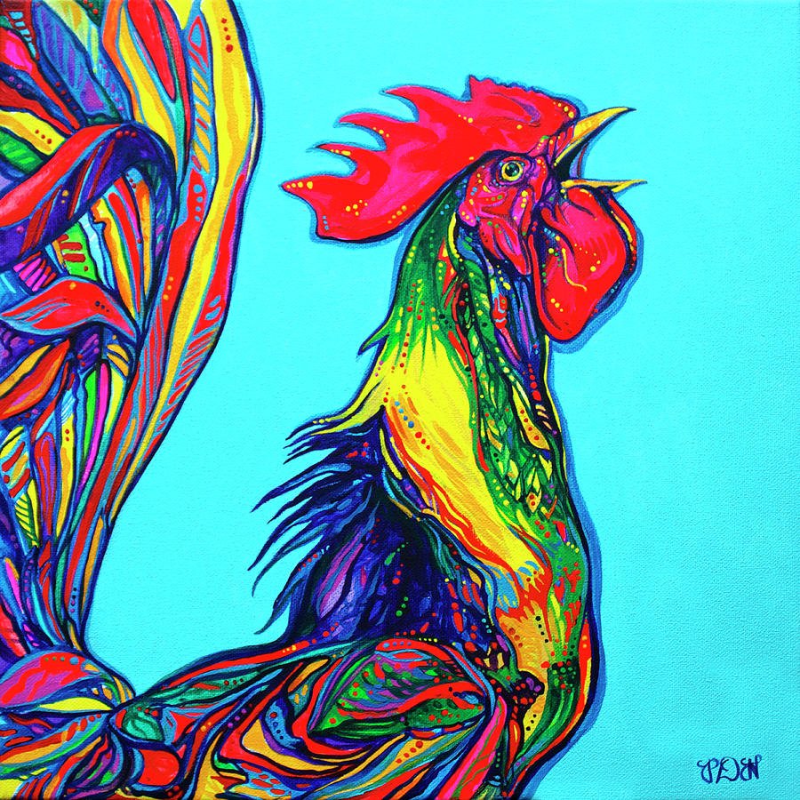 Rooster Painting - Rooster Crow by Derrick Higgins