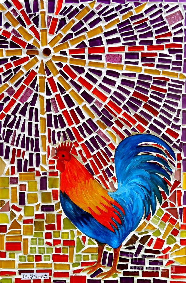 Rooster Mosaic Glass Art