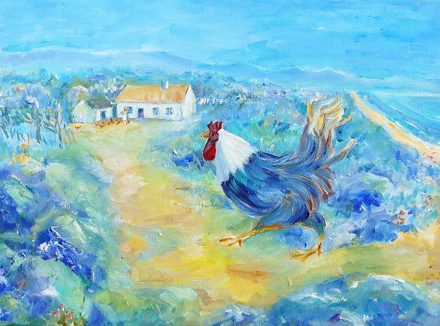 Rooster On Dingle Peninsula  Painting  - Rooster On Dingle Peninsula  Fine Art Print