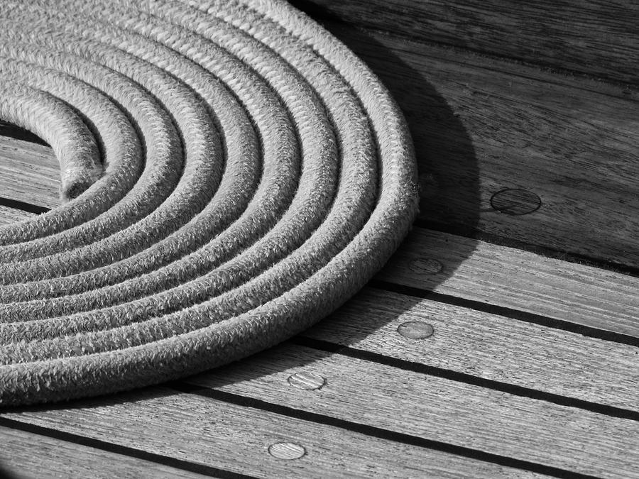 B&w Photograph - Rope Coil by Tony Grider