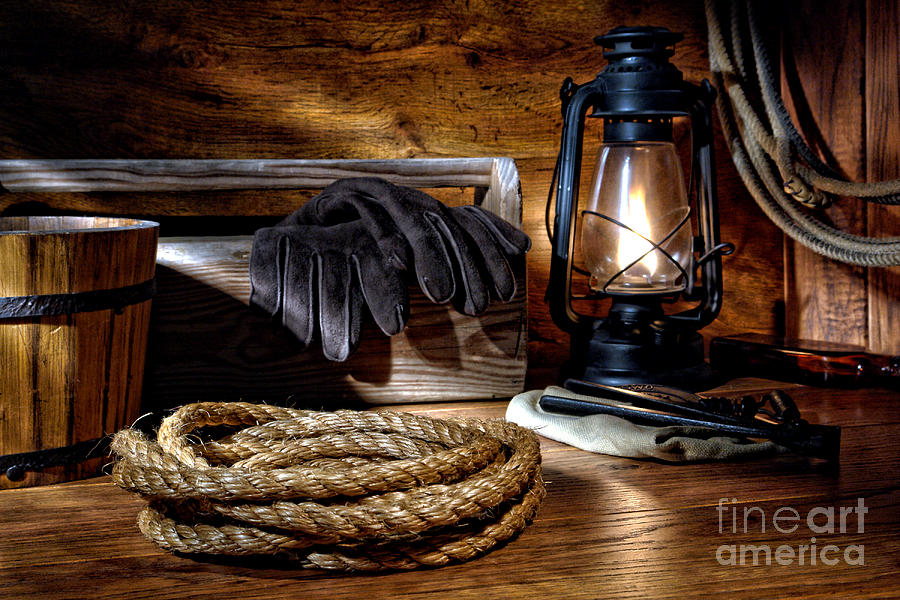 Rope In The Ranch Barn Photograph
