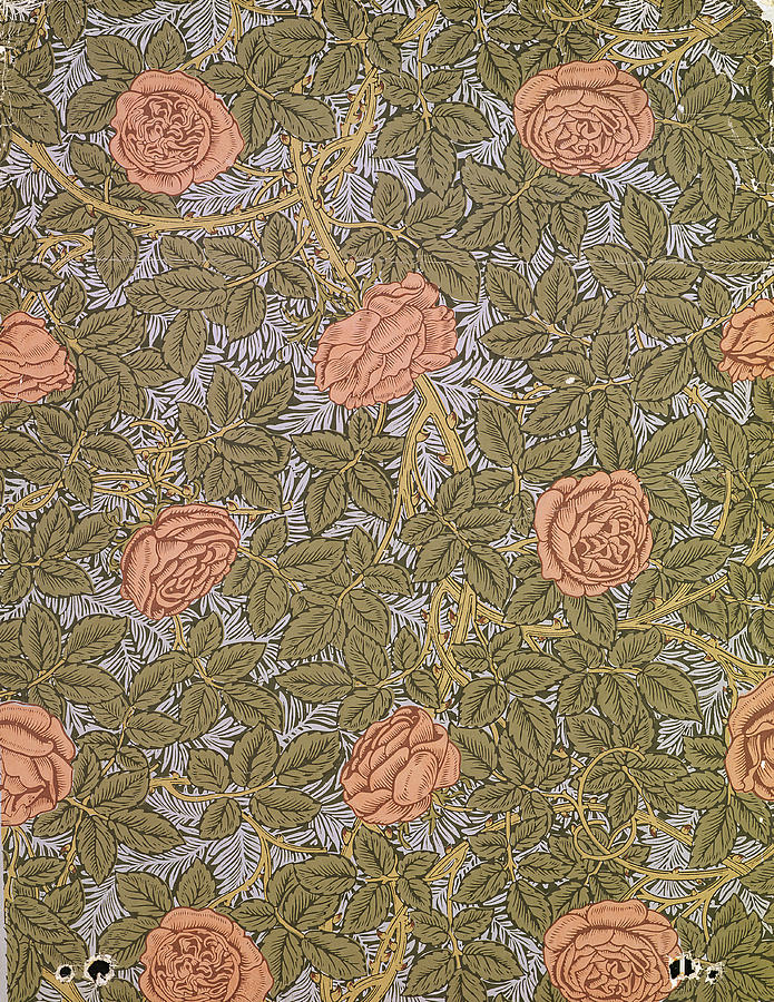 Arts And Crafts Movement Tapestry - Textile - Rose 93 Wallpaper Design by William Morris