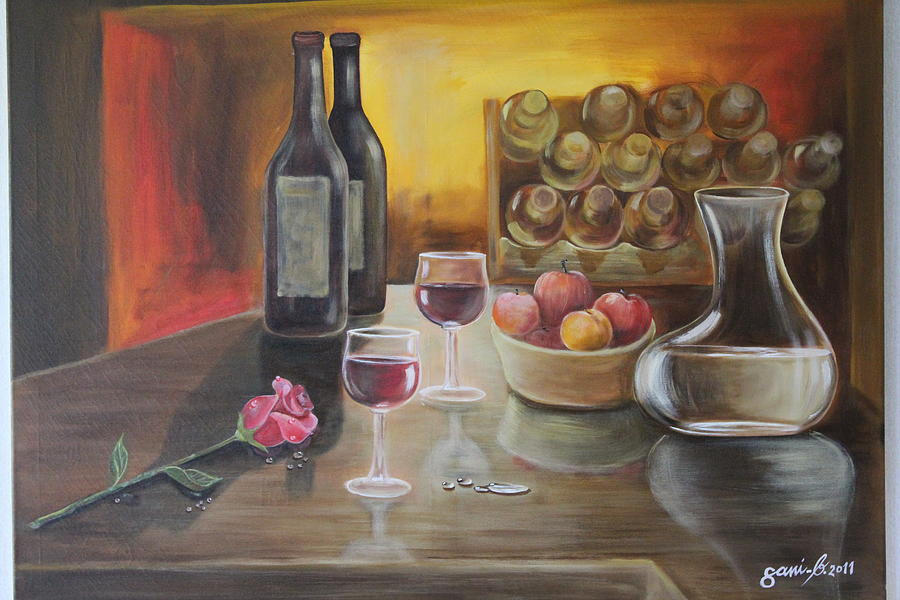 Rose And Wine Painting  - Rose And Wine Fine Art Print