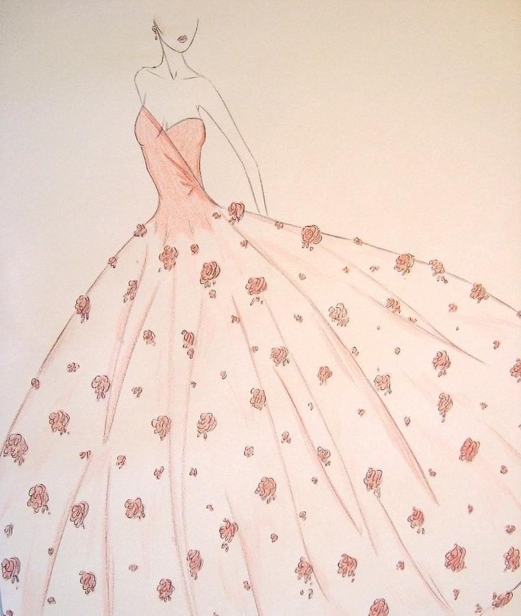 Rose Ball Gown Drawing  - Rose Ball Gown Fine Art Print