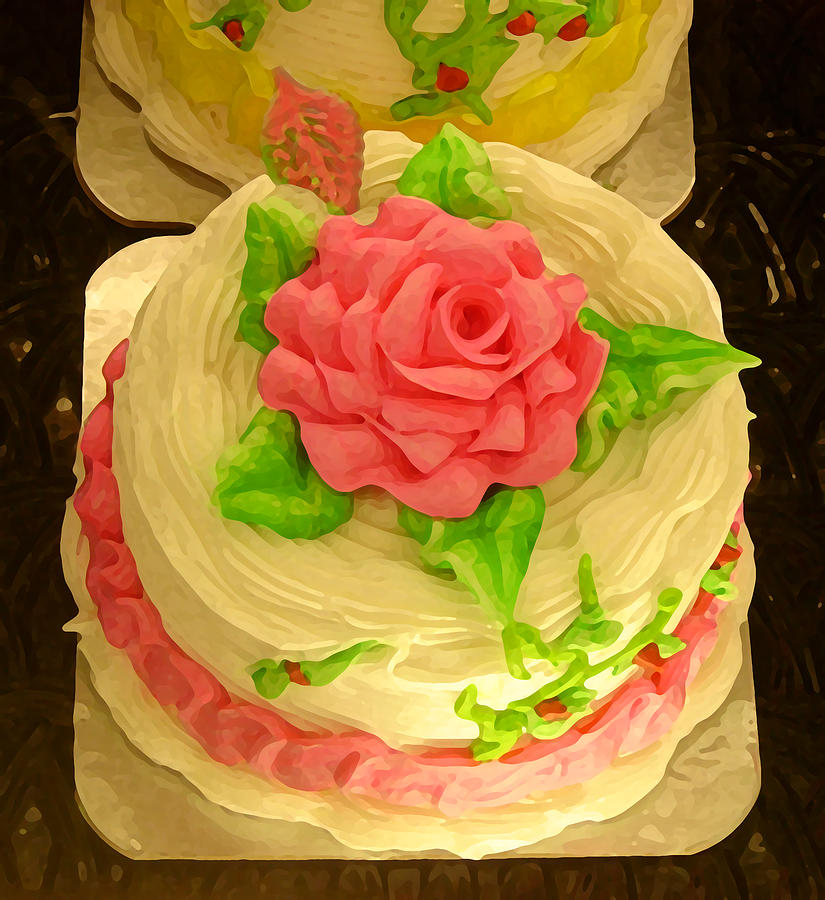 Cake Art By Amy Hours : Rose Cakes Painting by Amy Vangsgard